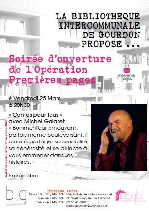 BIG - Ouverture Premieres pages soiree contes Michel Galaret