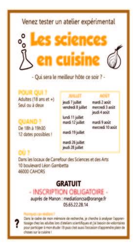 Sciences en Cuisine Juillet Aout